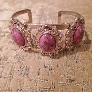 Jewelry - Goldtone Filigree Cuff with Jasper Hued Stones